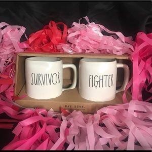 Rae Dunn FIGHTER & SURVIVOR Mugs set of 2 NIB 🎀